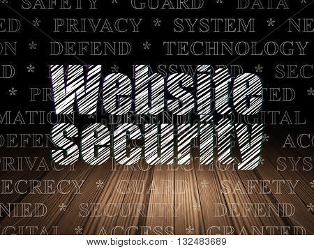 Privacy concept: Glowing text Website Security in grunge dark room with Wooden Floor, black background with  Tag Cloud