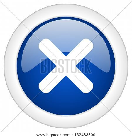 cancel icon, circle blue glossy internet button, web and mobile app illustration