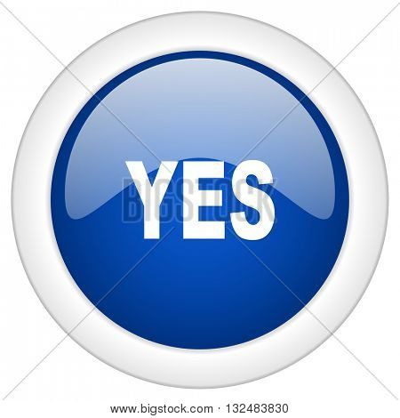 yes icon, circle blue glossy internet button, web and mobile app illustration