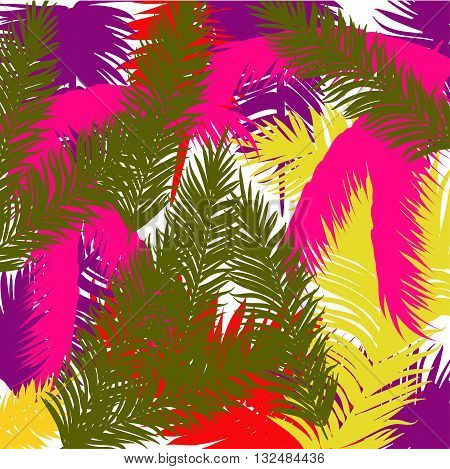 Background colored palms trees. Tropic. Abstract. Vector
