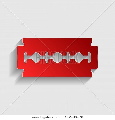 Razor blade sign. Red paper style icon with shadow on gray.