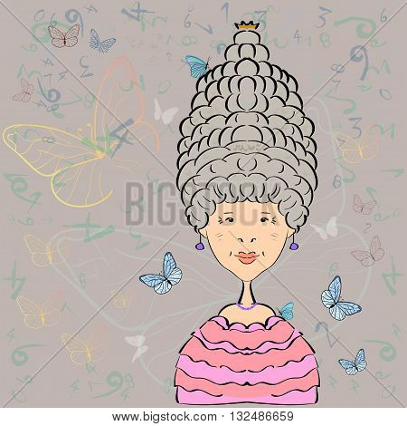 Vector illustration. The woman endowed with power in the entourage of butterflies