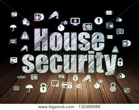 Security concept: Glowing text House Security,  Hand Drawn Security Icons in grunge dark room with Wooden Floor, black background