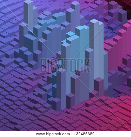 Abstract Background With Cube Decoration. Vector Illustration. Purple, Violet, Blue Colors.