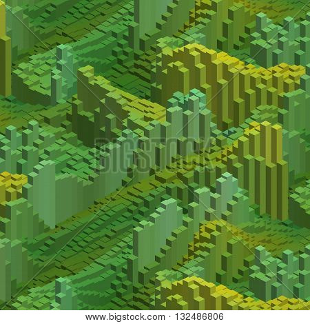 Abstract Background With Cube Decoration. Vector Illustration. Green Color.