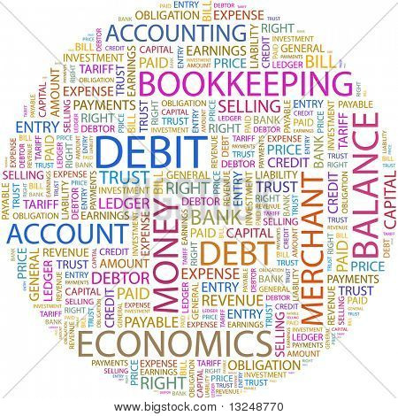 DEBIT. Word collage on white background. Illustration with different association terms.