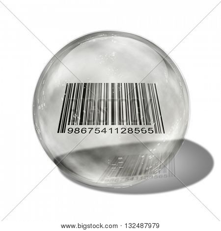 Barcode enclosed in glass sphere 3d Render