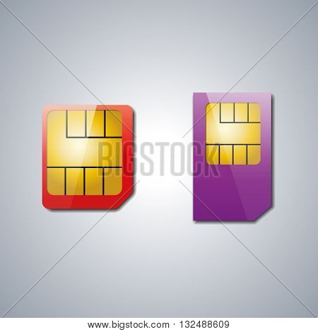 Set realistic sim card with shadow and light spot vector illustration.