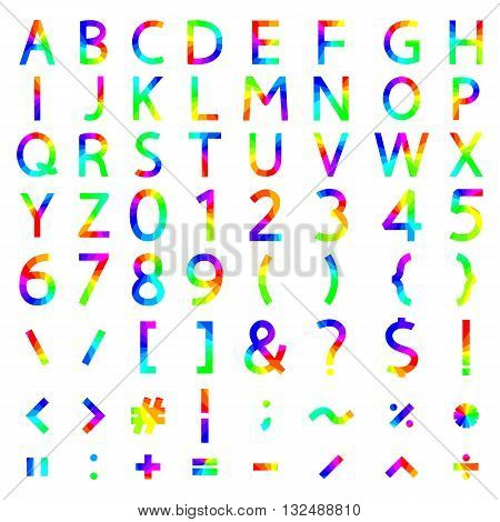Set of rainbow elements the alphabet and numbers symbols mathematical operations with square corners vector illustration.