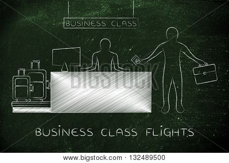 Traveler At Airport Check-in, Business Class Flights