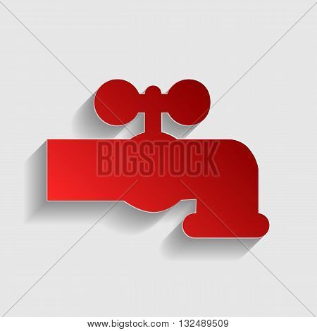 Water faucet sign illustration. Red paper style icon with shadow on gray.