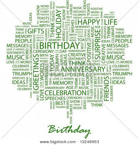 BIRTHDAY. Word collage on white background. Illustration with different association terms.