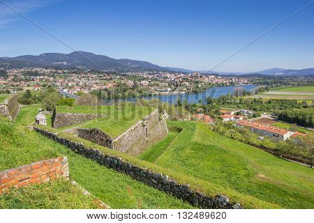 Fortified Walls And River In Valenca Do Minho