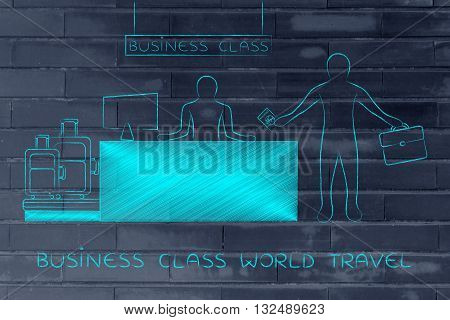 Traveler At Business Class Desk, World Travel