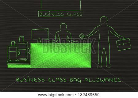 Traveler At Business Class Desk, Bag Allowance