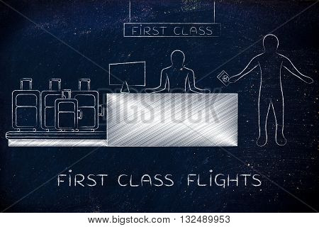 Traveler At First Class Airport Check-in