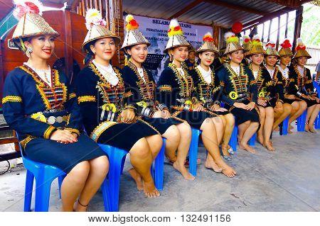 Penampang, Sabah Malaysia.May 30, 2016:Woman from Kadazandusun Papar of Sabah Borneo wearing traditional costume during Pesta Kaamatan. Pesta Kaamatan is a Harvest Festival celebrated yearly.