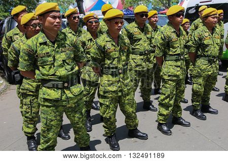 Kota Kinabalu,Sabah-May 30,2016:A view of RELA officers ready for duty In Kota Kinabalu. Estimated 3.8 million of Malaysian citizen joined People's Volunteer Corps (Rela).