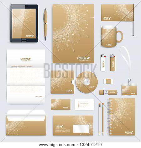 Golden set of vector corporate identity template. Modern business stationery mock-up. Medical branding design molecule. Round golden Logo. Molecule background. Medicine, science, technology design.