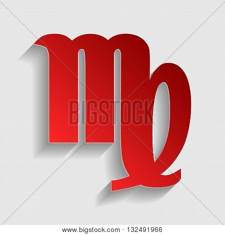 Virgo sign illustration. Red paper style icon with shadow on gray.