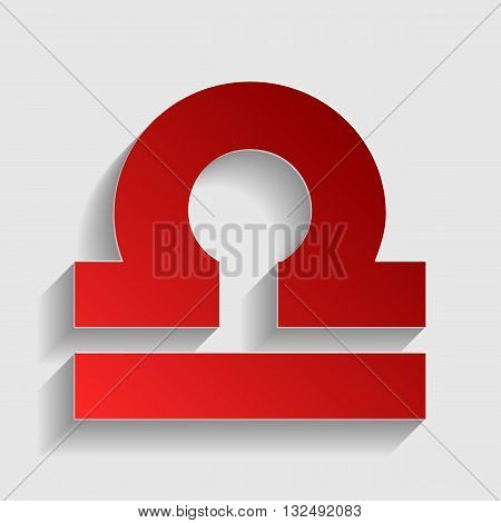 Libra sign illustration. Red paper style icon with shadow on gray.