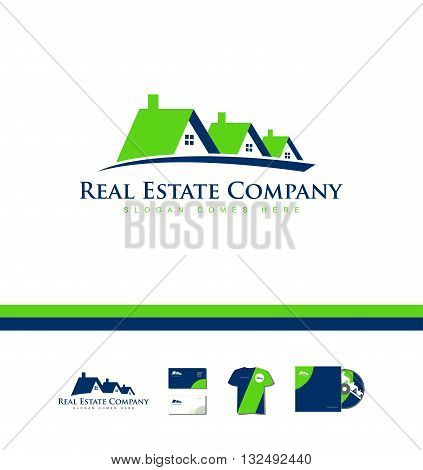 Vector company logo icon element template real estate house roof