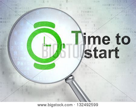 Time concept: magnifying optical glass with Watch icon and Time to Start word on digital background, 3D rendering