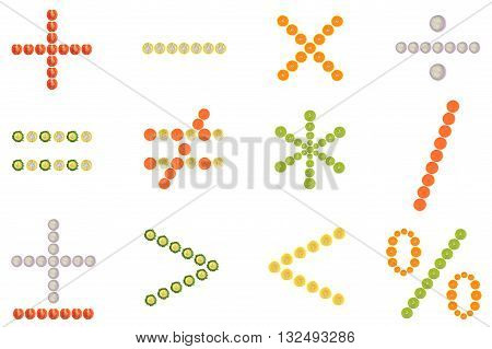 Mathematical symbol from halves of fruit and vegetable on white background
