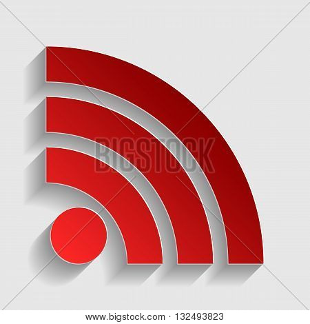 RSS sign illustration. Red paper style icon with shadow on gray.