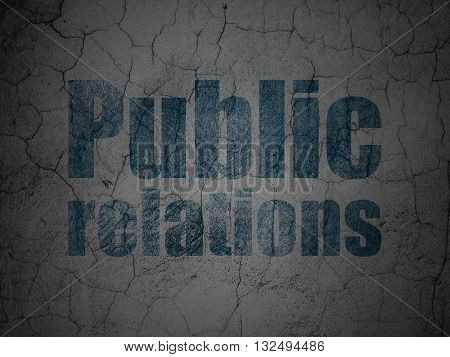 Marketing concept: Blue Public Relations on grunge textured concrete wall background