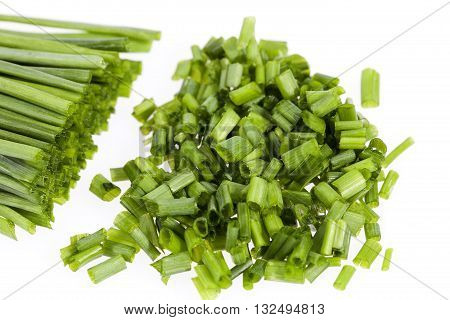 bunch of fresh chives isolated on white background.