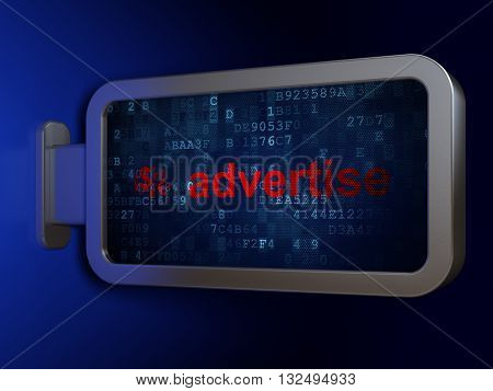 Advertising concept: Advertise and Finance Symbol on advertising billboard background, 3D rendering