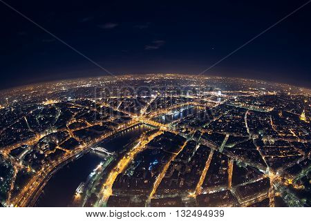 panorama of french capital view from above;