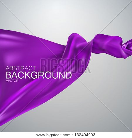 Purple silk fabric. Vector illustration with purple satin or silk fabric. Vector silk textile