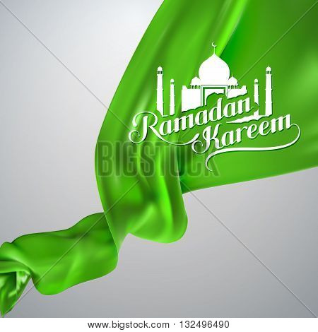 Ramadan Kareem. vector illustration of handwritten Ramadan Kareem retro label. lettering composition of muslim holy month with mosque building. Ramadan Kareem lettering on green silk fabric
