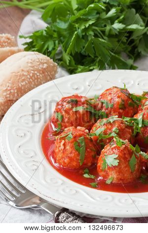 Delicious chicken or turkey meatballs with rice vegetable in tomato sauce