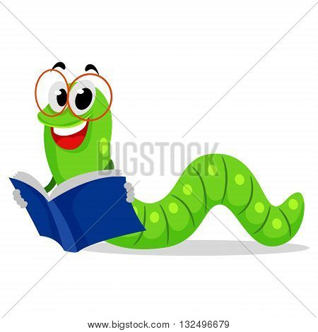 Vector Illustration of Smiling Worm Reading Book
