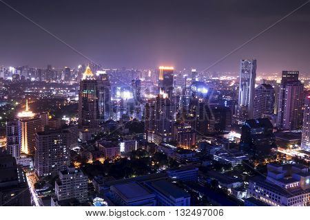 urban city on night view cityscape background - can use for postcard or montage your work