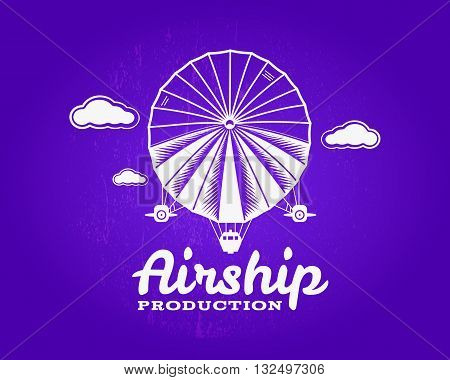 Vintage airship logo. Retro Dirigible balloon grunge logo template. Badge vector design. Old sketching style. Use as logo, label, stamp for web design or tee design, t-shirt print. Fly logo.