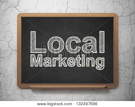 Marketing concept: text Local Marketing on Black chalkboard on grunge wall background, 3D rendering