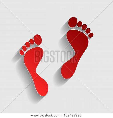 Foot prints sign. Red paper style icon with shadow on gray.