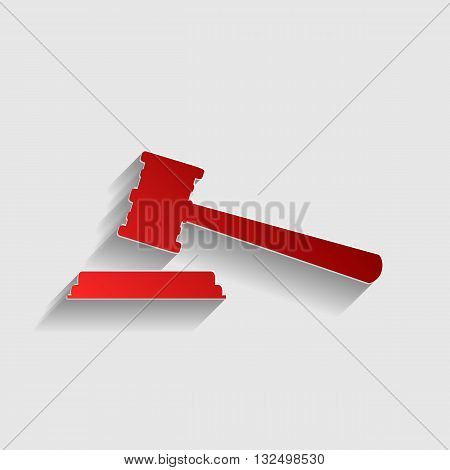 Justice hammer sign. Red paper style icon with shadow on gray.