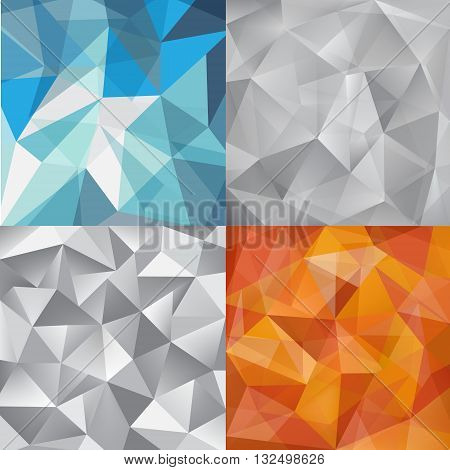Vector set of faceted abstract crystal backgrounds grey, blue, orange. triangular style. vector illustration graphic design background template. geometric.