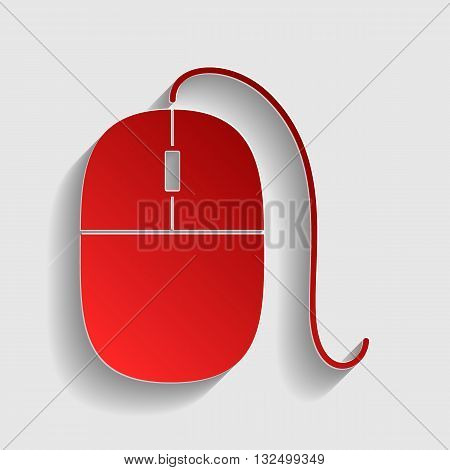 Mouse sign illustration. Red paper style icon with shadow on gray.