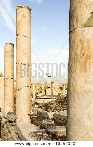 Close up of ancient stone columns in Ephesus Turkey
