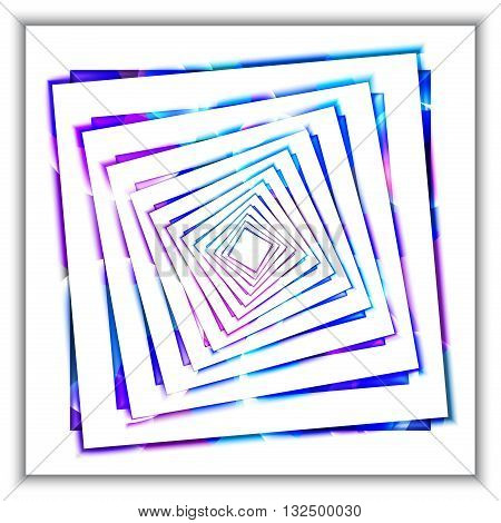 3d concentric squares in perspective in the form of a tunnel with colored light reflections. Abstract vector background. Digital Art for the cover, posters, web. Elements for design.