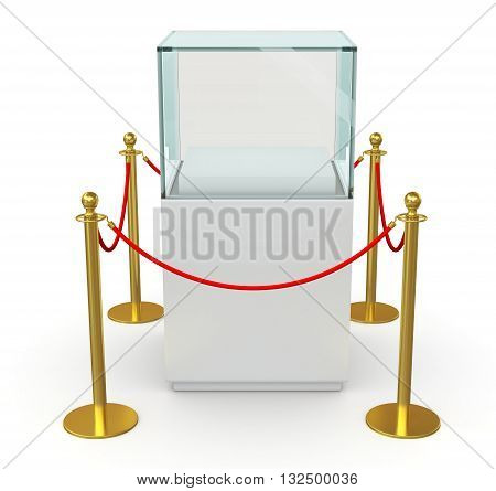 Empty glass cube on pedestal for exhibit with barrier rope. 3D illustration