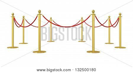 Golden barricade isolated on white background. 3D illustration