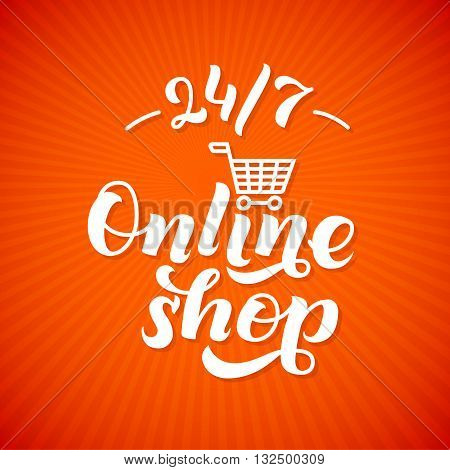 Online Shop Logo. Shop print on a T-shirt, Shop label,  Shop Stamp,  Shop lettering, Calligraphy Shop, Shop Icon, Shop Vector illustration