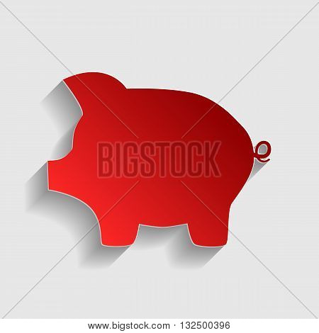 Pig money bank sign. Red paper style icon with shadow on gray.